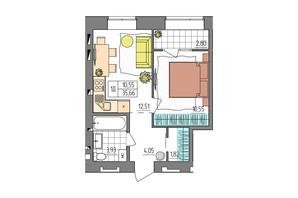 ЖК Синергия Glass: планировка 1-комнатной квартиры 35.66 м²