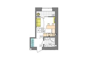 ЖК Синергия Glass: планировка 1-комнатной квартиры 23.98 м²