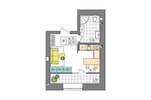 ЖК Синергия Glass: планировка 1-комнатной квартиры 26.95 м²