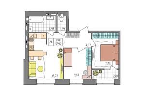 ЖК Синергия Glass: планировка 2-комнатной квартиры 53.92 м²