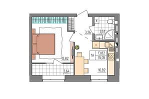 ЖК Синергия Glass: планировка 1-комнатной квартиры 35.05 м²