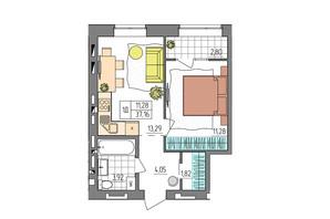 ЖК Синергия Glass: планировка 1-комнатной квартиры 37.16 м²