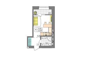 ЖК Синергия Glass: планировка 1-комнатной квартиры 24.89 м²