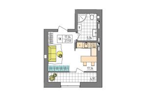 ЖК Синергия Glass: планировка 1-комнатной квартиры 27.59 м²