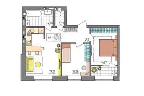 ЖК Синергия Glass: планировка 2-комнатной квартиры 55.18 м²