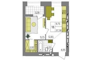 ЖК Синергия Light: планировка 1-комнатной квартиры 36.7 м²