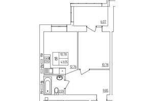 ЖК Синергия Light: планировка 1-комнатной квартиры 44.56 м²