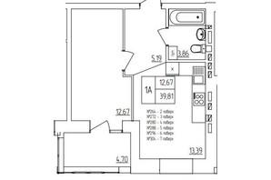ЖК Синергия Light: планировка 1-комнатной квартиры 40.6 м²
