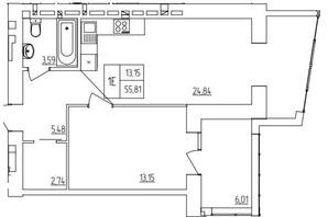 ЖК Синергия Light: планировка 1-комнатной квартиры 57.67 м²