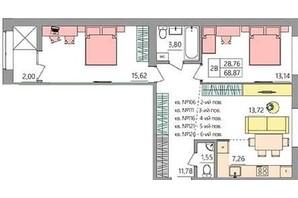 ЖК Синергия Light: планировка 1-комнатной квартиры 68.8 м²