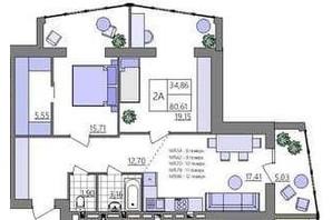 ЖК Синергия Light: планировка 2-комнатной квартиры 80.61 м²