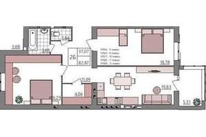 ЖК Синергия Light: планировка 2-комнатной квартиры 81.27 м²
