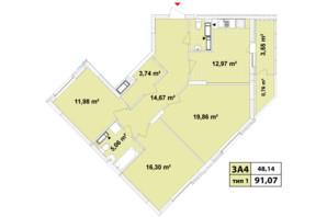 ЖК Сирецькі Сади: планування 3-кімнатної квартири 91.07 м²