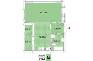 ЖК Сирецькі Сади: планування 1-кімнатної квартири 48.04 м²