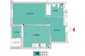 ЖК Сирецькі Сади: планування 1-кімнатної квартири 42.51 м²