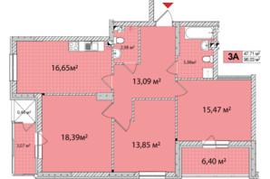 ЖК Сирецькі Сади: планування 3-кімнатної квартири 95.86 м²