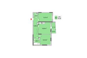 ЖК Сирецькі Сади: планування 2-кімнатної квартири 72.89 м²