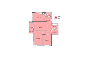 ЖК Сирецькі Сади: планування 3-кімнатної квартири 81.35 м²