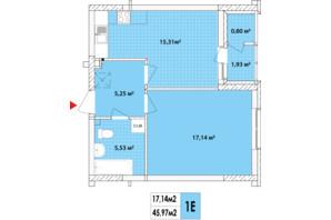 ЖК Сирецькі Сади: планування 1-кімнатної квартири 45.1 м²