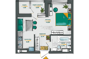 ЖК Сирецькі Сади: планування 1-кімнатної квартири 28.78 м²