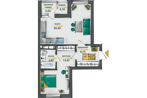 ЖК Сирецькі Сади: планування 1-кімнатної квартири 47.64 м²