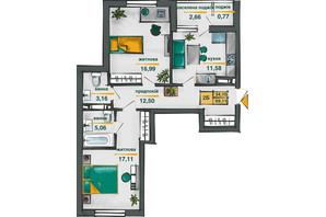 ЖК Сирецькі Сади: планування 2-кімнатної квартири 64.4 м²