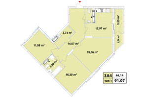 ЖК Сырецкие Сады: планировка 3-комнатной квартиры 91.07 м²