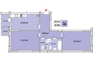 ЖК Сырецкие Сады: планировка 2-комнатной квартиры 67.6 м²