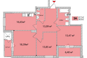 ЖК Сырецкие Сады: планировка 3-комнатной квартиры 95.86 м²