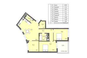 ЖК Там де дім: планування 3-кімнатної квартири 93.53 м²