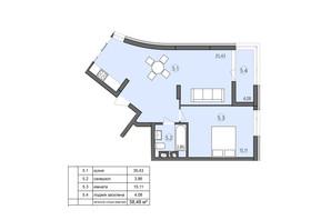 ЖК Там де дім: планування 1-кімнатної квартири 58.48 м²