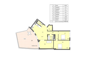 ЖК Там де дім: планування 3-кімнатної квартири 115.82 м²