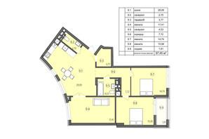 ЖК Там де дім: планування 3-кімнатної квартири 97.45 м²