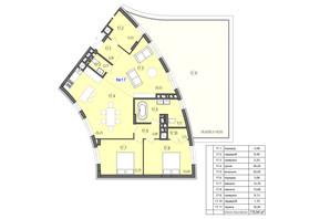ЖК Там де дім: планування 3-кімнатної квартири 115.94 м²