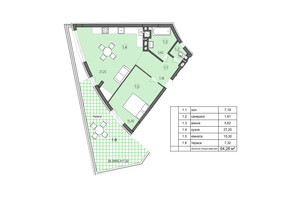 ЖК Там где дом: планировка 1-комнатной квартиры 64.28 м²