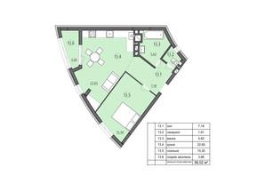ЖК Там где дом: планировка 1-комнатной квартиры 56.02 м²