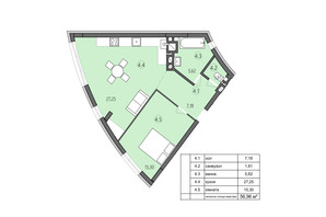 ЖК Там где дом: планировка 1-комнатной квартиры 56.96 м²