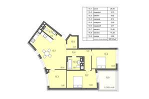 ЖК Там где дом: планировка 3-комнатной квартиры 93.53 м²