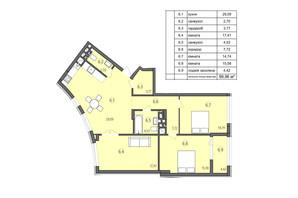 ЖК Там где дом: планировка 3-комнатной квартиры 99.96 м²