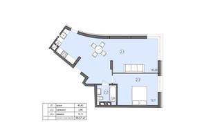 ЖК Там где дом: планировка 1-комнатной квартиры 59.57 м²