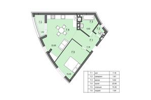 ЖК Там где дом: планировка 1-комнатной квартиры 53.96 м²