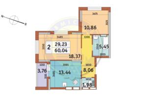 ЖК Тарасівка: планування 1-кімнатної квартири 38.39 м²