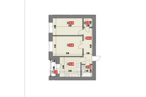ЖК Театральный: планировка 2-комнатной квартиры 64.45 м²
