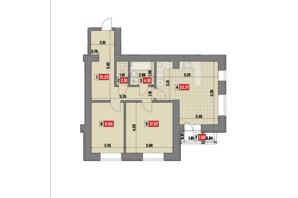 ЖК Театральный: планировка 2-комнатной квартиры 75.64 м²