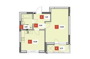 ЖК Теремки: планировка 1-комнатной квартиры 47.72 м²