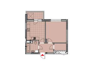 ЖК Теремки: планировка 1-комнатной квартиры 45.18 м²