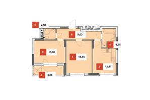 ЖК Теремки: планировка 2-комнатной квартиры 62.5 м²