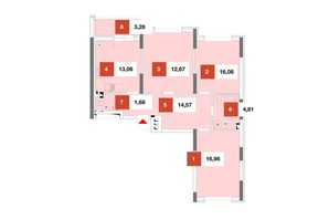 ЖК Теремки: планировка 3-комнатной квартиры 86 м²