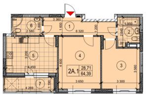 ЖК Теремки: планировка 2-комнатной квартиры 72.94 м²