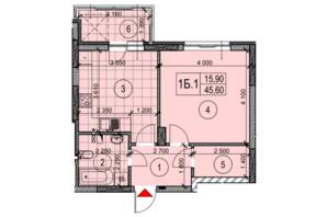 ЖК Теремки: планировка 1-комнатной квартиры 47.35 м²
